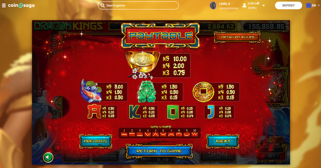 Dragon King Slot Features