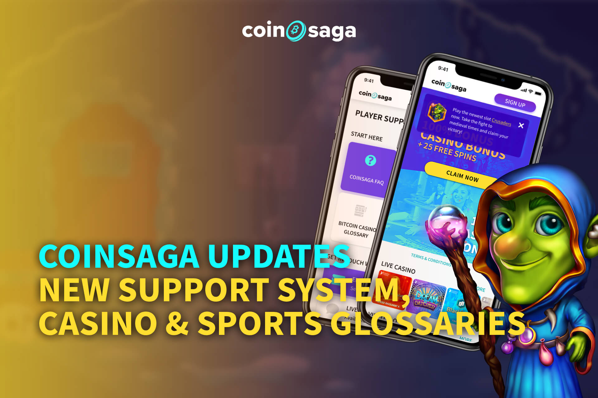 Coinsaga Updates - New Support System, Casino & Sports Glossaries