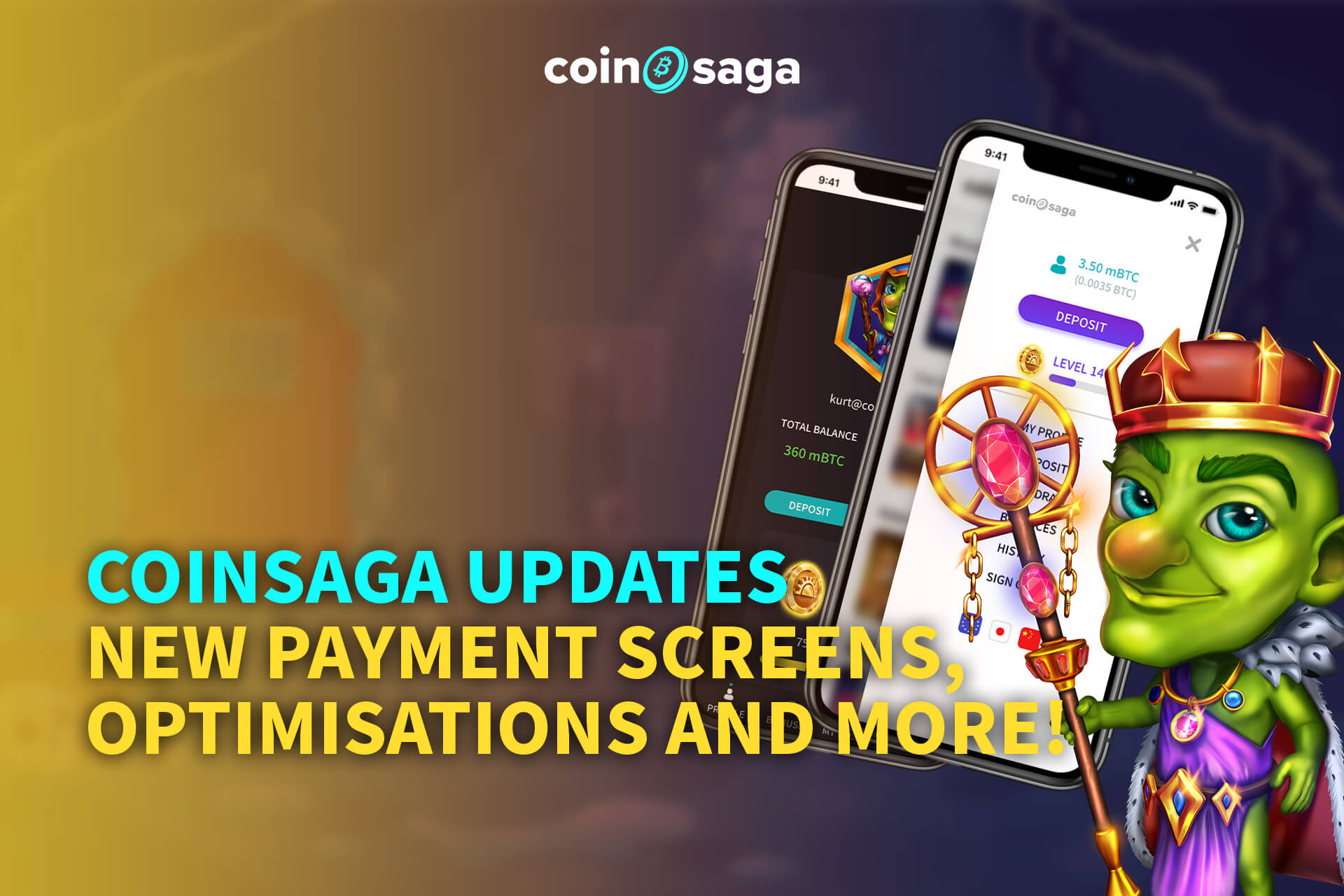 CoinSaga Updates - New Payment Screens, Optimisations and more!