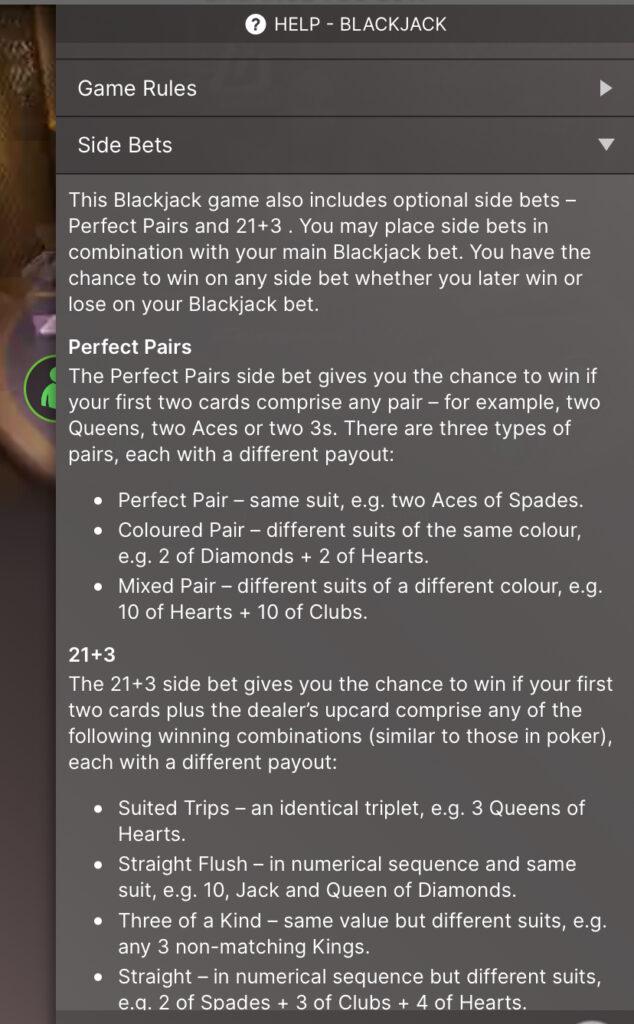 Platinum Blackjack Side Bet