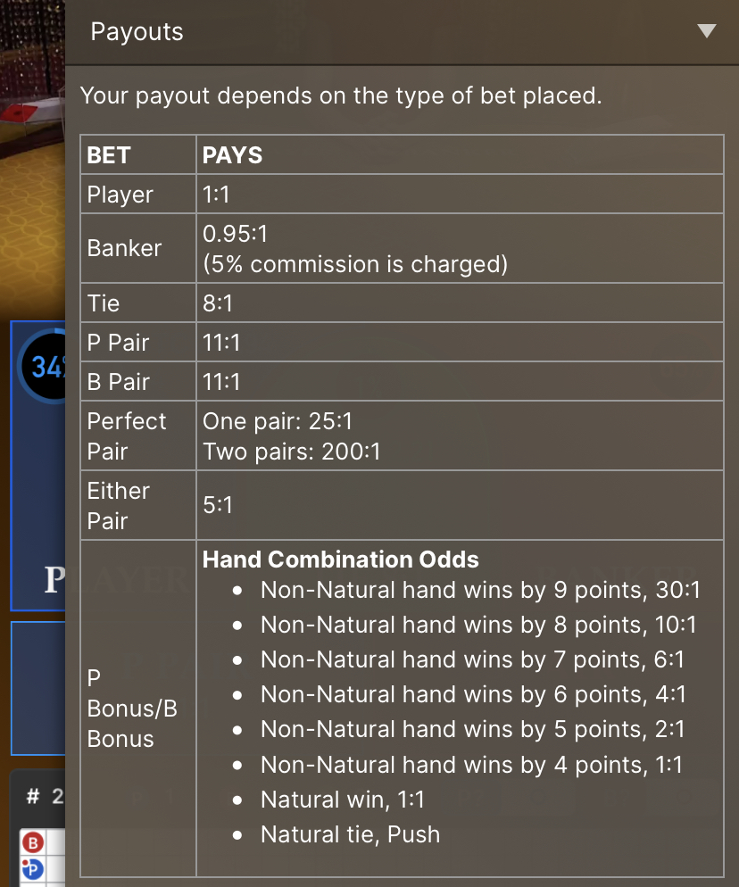 baccarat payout
